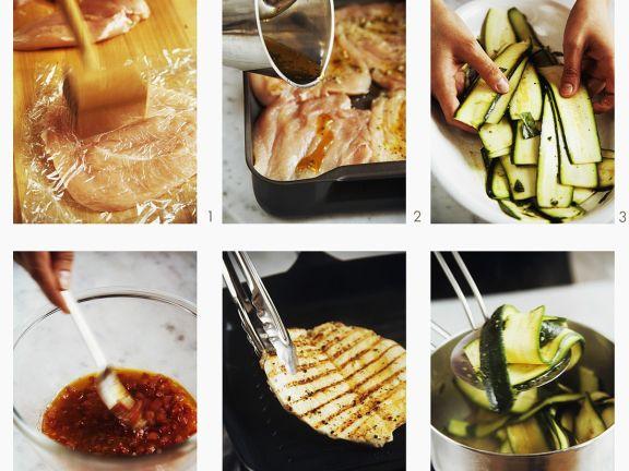 Hühnchenfilet mit Zucchini vom Grill