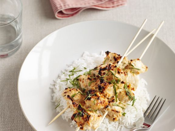 Hühnchenspieße mit Reis