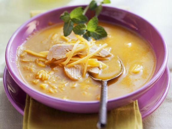 Hühnersuppe mit Reis und Mango