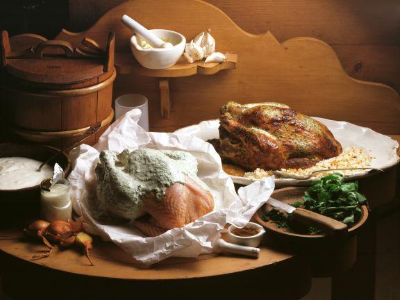 Huhn im Kräuter-Joghurt-Mantel