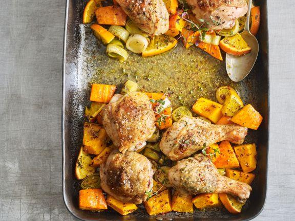 Huhn mit Kürbis und Lauch