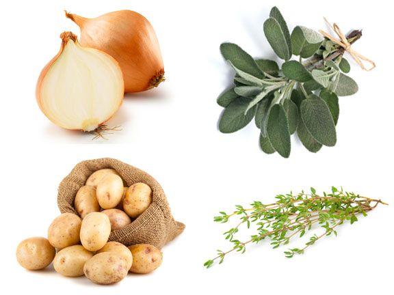 Kartoffeln, Thymian, Salbei und Zwiebeln auf Weiß gut gegen Husten