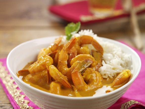 Indisches Garnelen-Curry mit Reis