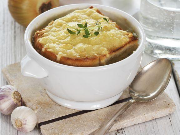 Jarlsberg Zwiebelsuppe aus dem Ofen