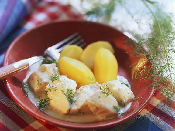 Kabeljau in Weinsauce mit Kartoffeln