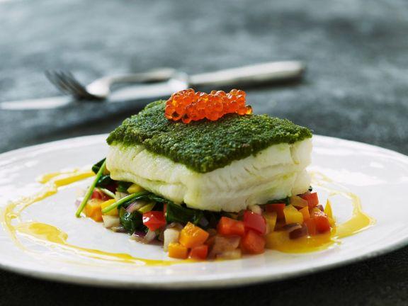 Kabeljau mit Pesto und Gemüse
