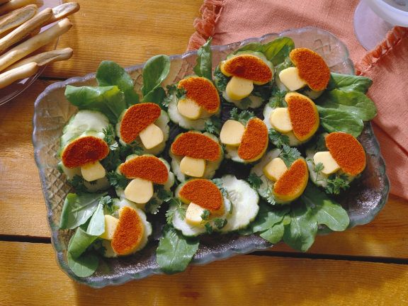 Käse-Gurkenhäppchen
