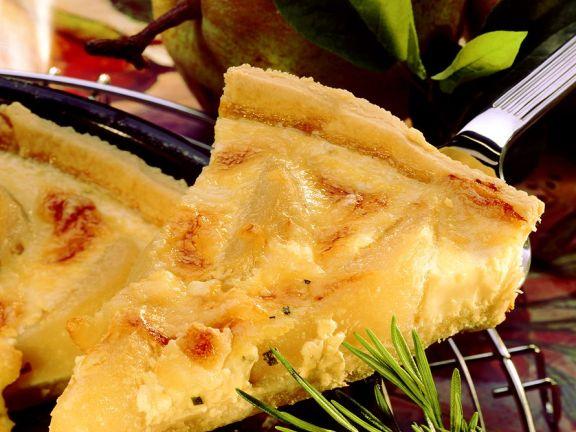 Käse-Quiche mit Birnen