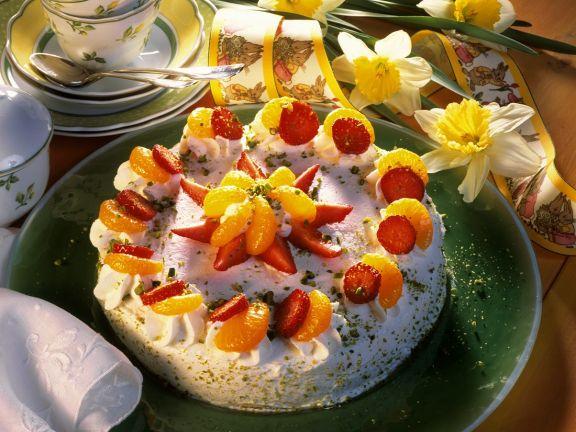 Käse-Sahnetorte mit Früchten