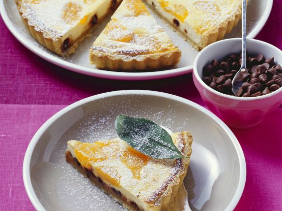 Käsekuchen mit Mandarinen und Schokosplittern