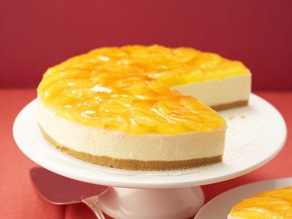 Käsekuchen mit Orangenglasur
