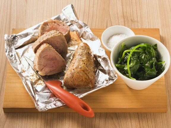 Kalbfleisch mit Spinat