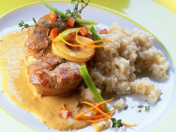 Kalbsbeinscheiben in Orangen-Curry-Sauce