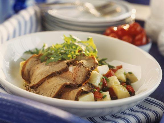 Kalbsbraten mit Paprika-Kartoffel-Salat