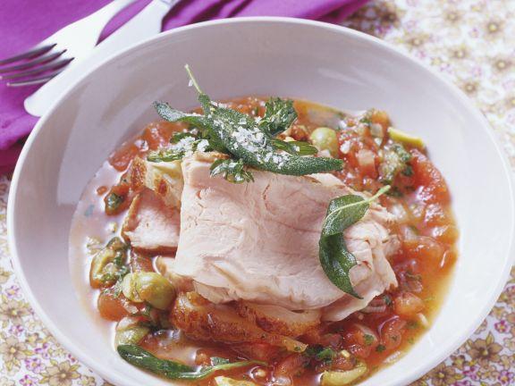 Kalbsbraten mit Tomaten-Oliven-Soße
