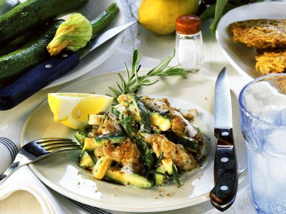 Kalbsgulasch mit Zucchini und Rösti