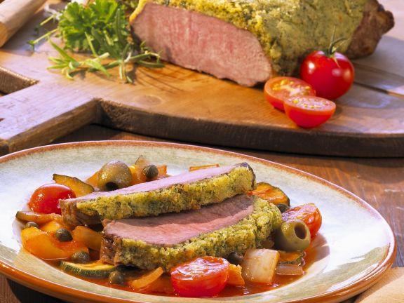 Kalbsrücken mit Kräuterhaube und Ratatouille-Gemüse