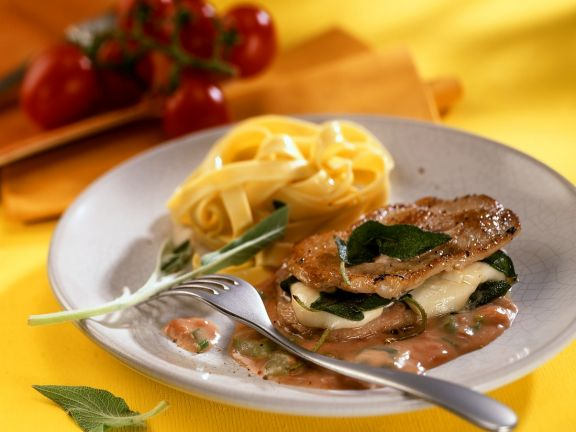 Kalbsrückensteaks mit Mozzarella