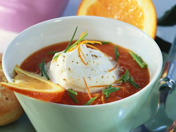 Kalte Tomaten-Orangensuppe