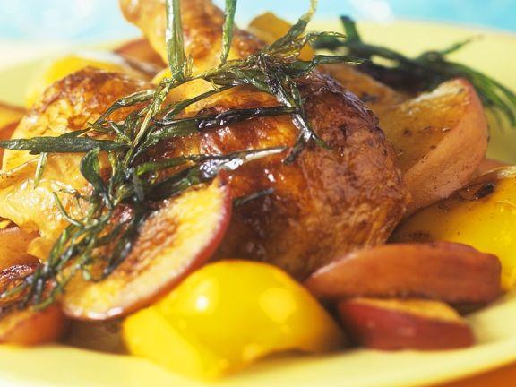 Kaltes Hähnchen mit Pfirsich