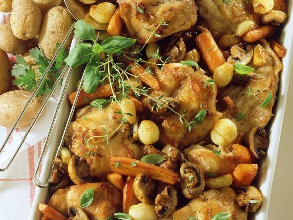 Kanichen mit Gemüse aus dem Ofen