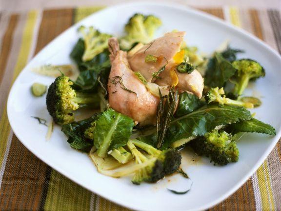 Kaninchen mit Gemüse