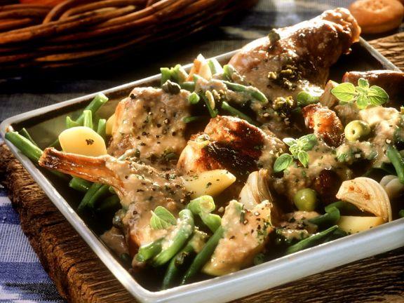 Kaninchenragout mit Gemüse