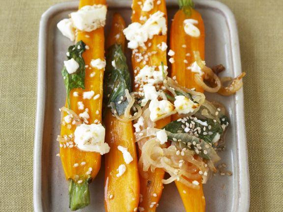 Karotten mit Schafskäse überbacken