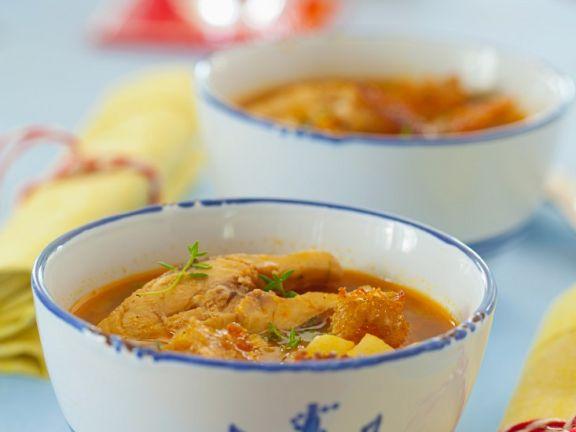 Karpfensuppe mit Paprika