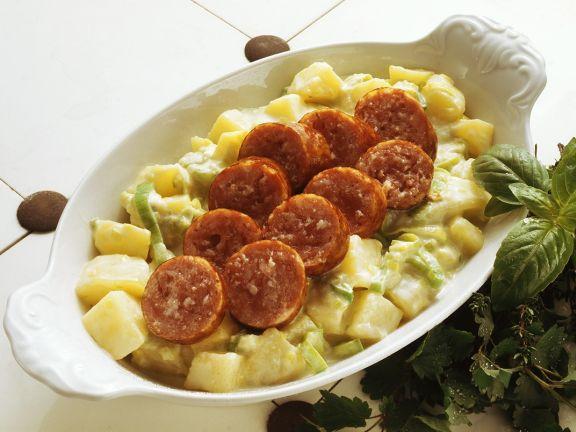 Kartoffel-Lauchgemüse mit Mettwurst