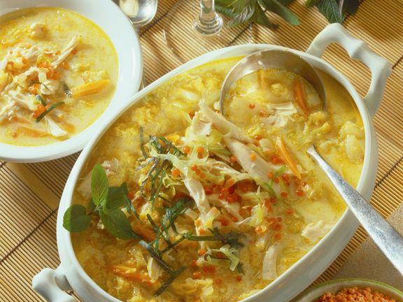 Kartoffel-Linsensuppe mit Hähnchen