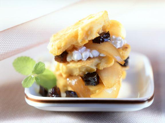 Kartoffel-Maispuffer mit Pflaumen
