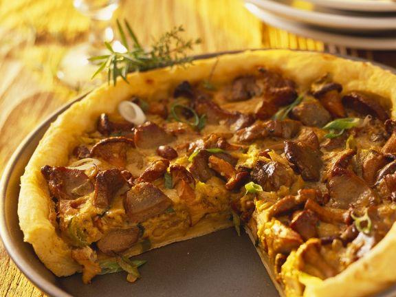 Kartoffel-Pfifferlingskuchen und Wildfleisch