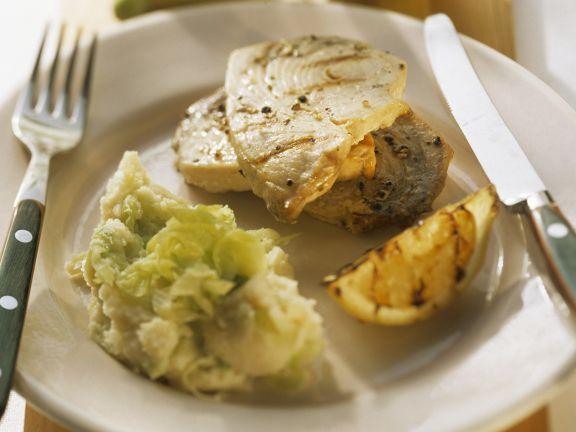 Kartoffel-Porree-Püree und Schwertfisch