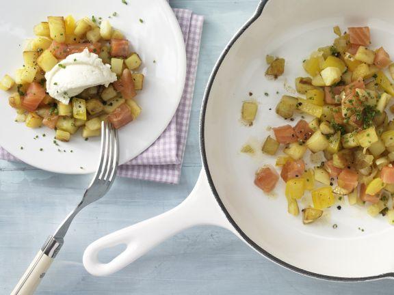 Kartoffel-Räucherlachs-Pfanne