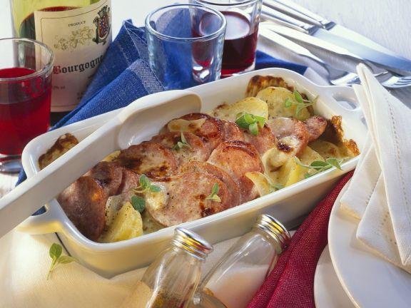 Kartoffel-Wurstgratin