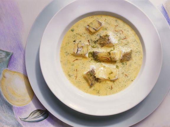 Kartoffelcremesuppe mit Fisch