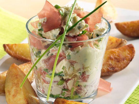 Kartoffelecken mit Schinken-Frischkäse-Creme