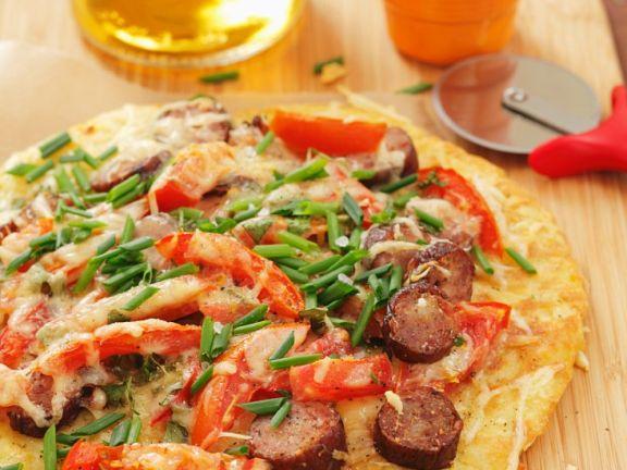 Kartoffelfladen mit Paprika und Wurst