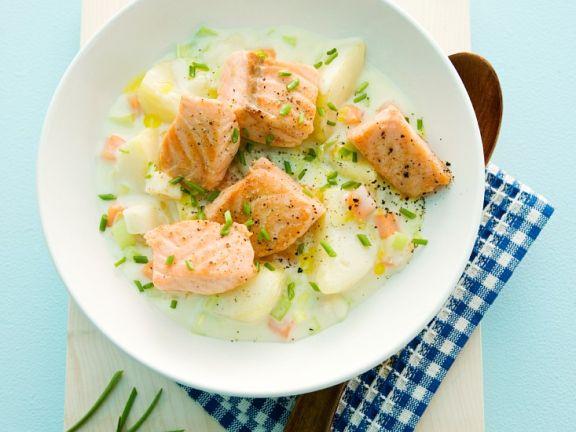 Kartoffelgemüse mit Lachs