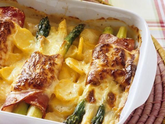 Kartoffelgratin mit Spargel