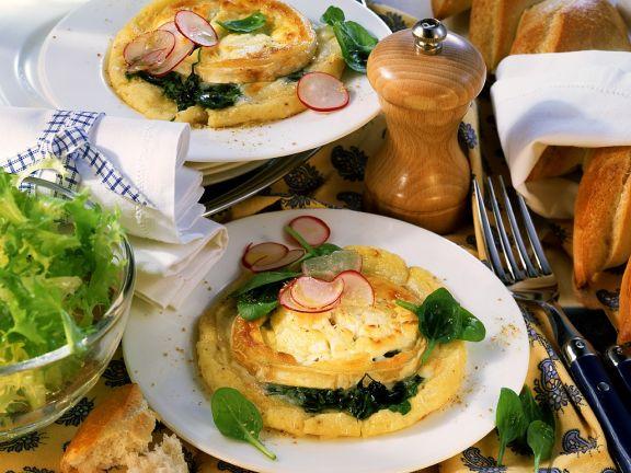 Kartoffelkuchen mit Spinat und Käse