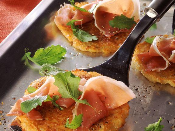 Kartoffelküchlein mit Schinken