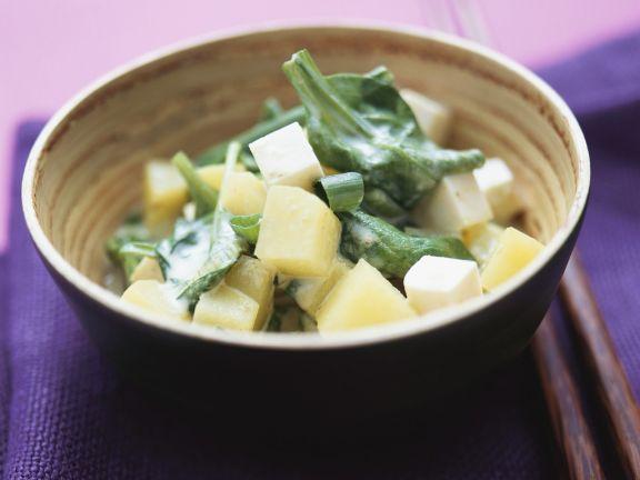 Kartoffeln mit Spinat und Tofu