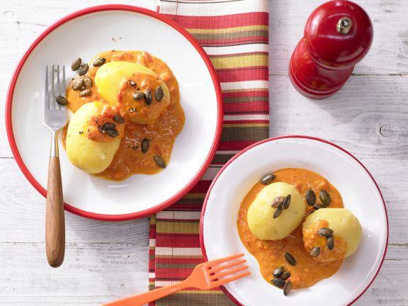 Kartoffeln in Paprika-Rahmsauce