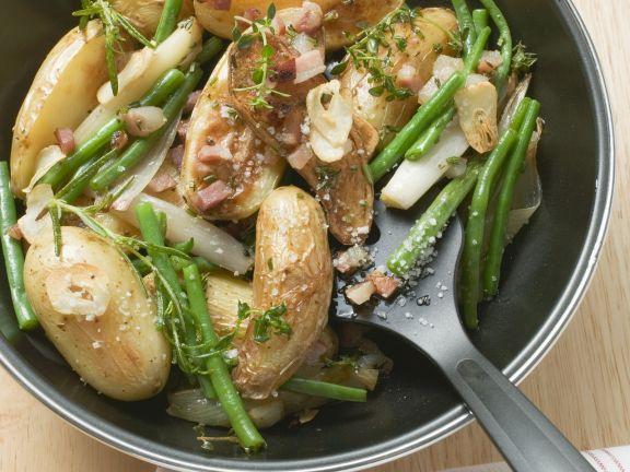 grüne bohnen kartoffeln pfanne