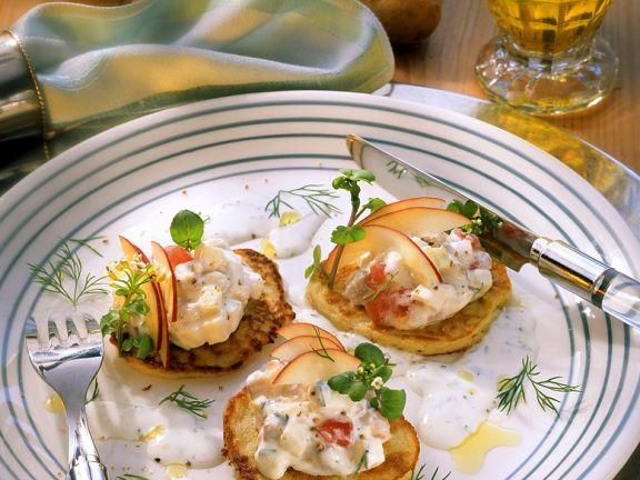 Kartoffelplätzchen mit Matjessalat