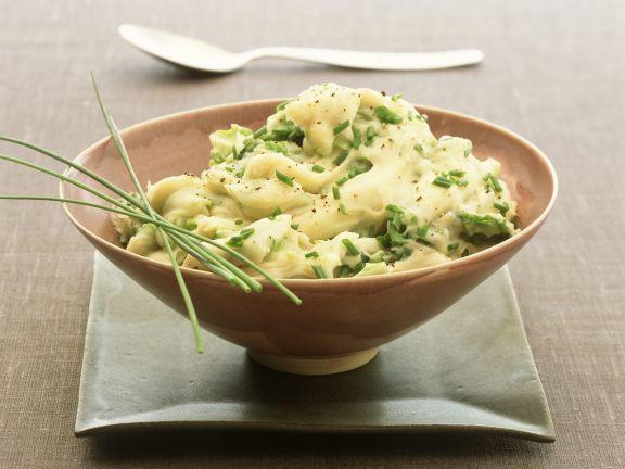Kartoffelpüree mit Kohl und Porree auf irische Art