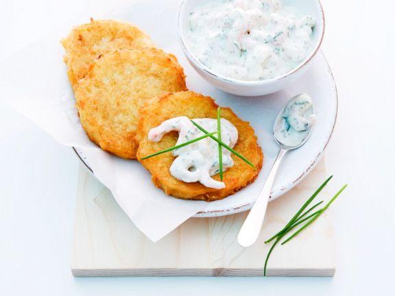 Kartoffelpuffer mit Quark-Shrimps