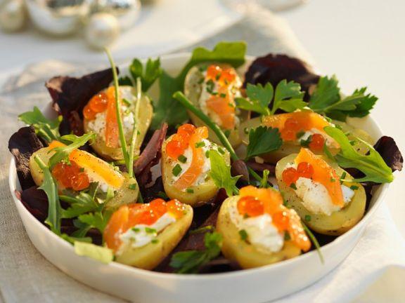 Kartoffelsalat mit Lachs und Frischkäse